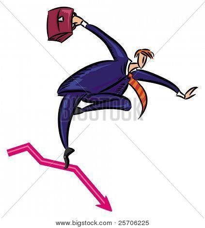 businessman keeps his balance on red arrow