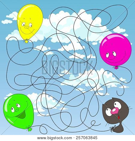 Help The Kitten Find His Balloon. Labyrinth For Children. Educational Games Find The Path. Vector Il