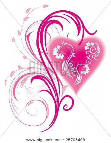 Stylized Heart and floral ornament. Vector Illustration