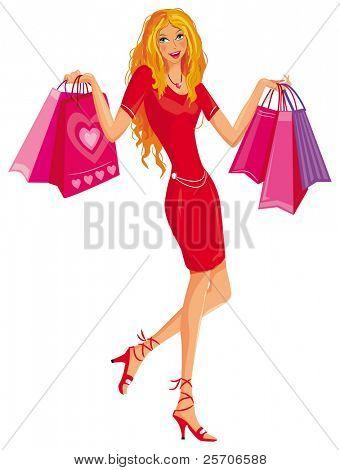 Shopping pretty girl. Vector illustration