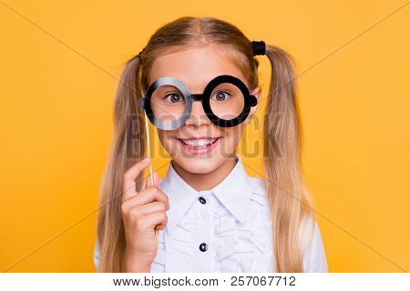 I'm So Educated Close Up Studio Photo Portrait Of Pretty Adorab