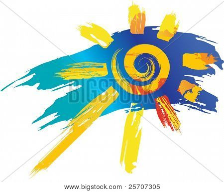 sun symbol from color splashes and line brushes
