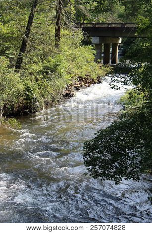 Vertical Moving River Water Stream With Bridge Background