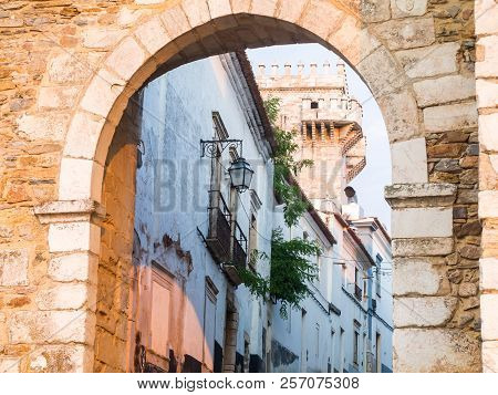 13th Century Entrance To The Estremoz Castle In Estremoz, Portugal. Tres Coroas (three Crowns) Tower