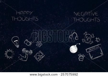 Positive And Negative Attitude Conceptual Illustration: Happy And Negative Thoughts With Groups Of T