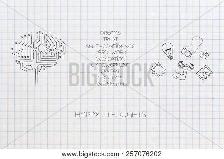 Positive And Negative Attitude Conceptual Illustration: Circuit Brain With List Of Happy Attitudes A