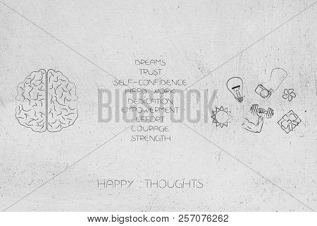 Positive And Negative Attitude Conceptual Illustration: Human Brain With List Of Happy Attitudes And