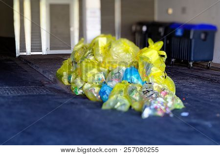 Storage Of Yellow Bags With Packaging Waste To Illustrate The Waste Problem With Packaging Waste