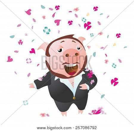 Tenor Pig  Sings Opera Sucessful. Sprinkled With Flower Petals. Vector Illustration. Isolated On Tra