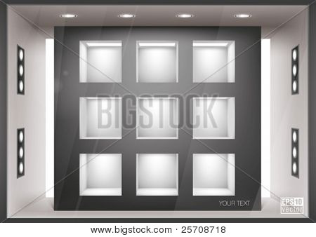 Storefront  with illumination of shelves into the wall, you can change colors for the background, eps10 vector