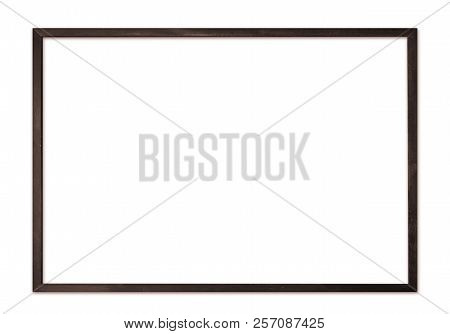Black Thin Wooden Picture Frame For Modern Wall Isolated On White Background