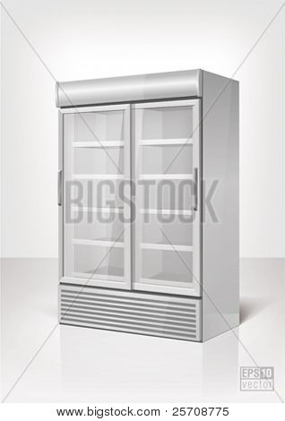 Merchandising refrigerator with 2 section. Eps10 vector