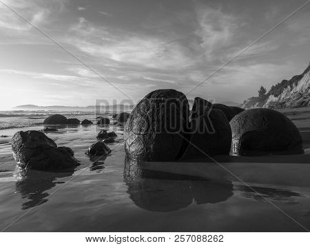 Moeraki Boulders, New Zealand. I Stopped At The Moeraki Boulders Early In The Morning At Sunrise. I