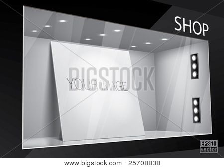 Storefront with poster for your design. Eps10 vector