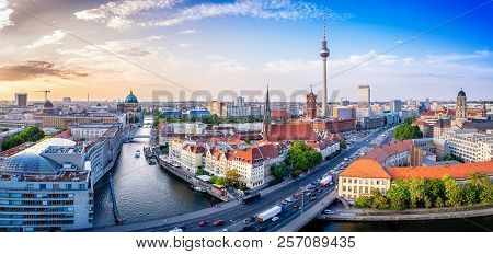 Panoramic View At The City Center Of Berlin At Sunset