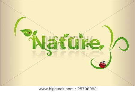 Nature word with leafs and ladybugs