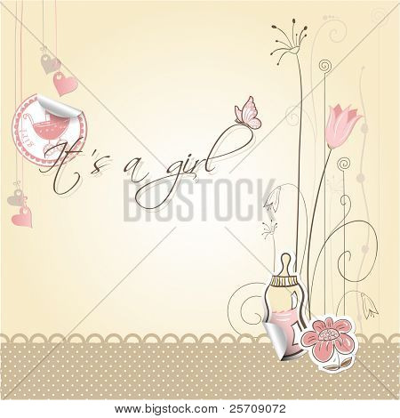 Baby girl announcement card - It's a girl; every object on separate layer