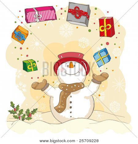 Christmas greeting - Snowman juggling gifts - everything grouped for easy use - vector illustration
