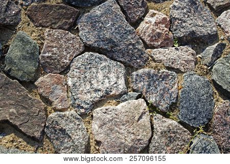 Paved Hand-made Track From Different Shapes Stones