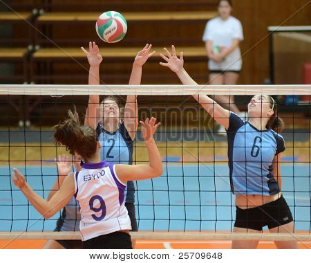 KAPOSVAR, HUNGARY - OCTOBER 16: Zsanett Pinter (2) in action at the Hungarian NB I. League woman volleyball game Kaposvar (blue) vs Ujpest (white), October 16, 2011 in Kaposvar, Hungary.