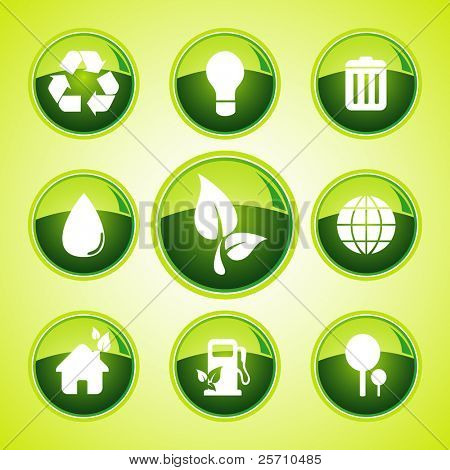 environmental green icon set