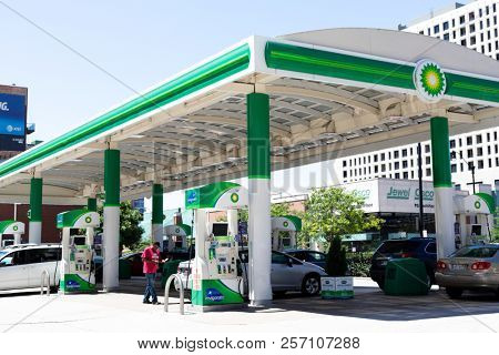 Chicago, US - Jul 18, 2018: BP or British Petroleum gas station in summer day. British Petroleum is a British multinational oil and gas company