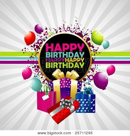 poster of Happy Birthday colorful background.