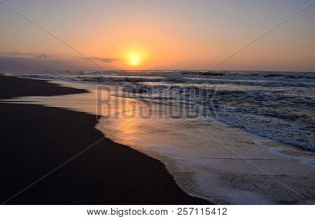 Golden Hour On The Beach. Sunrise On The Sea In Torremolinos, Malaga. Spain.