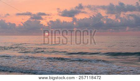 Golden Hour On The Sea. Sunrise On The Beach.