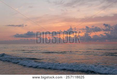Golden Hour On The Beach. Sunset On The Sea.