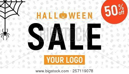 Halloween Sale, Halloween Discount Background, Halloween Offer Banner, Vector Illustration,