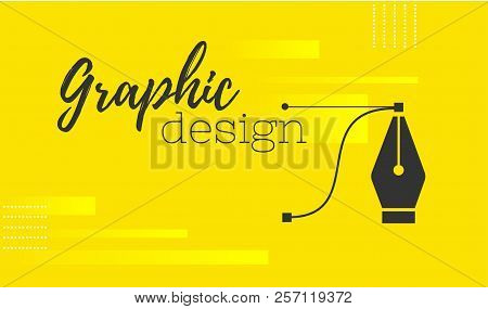 Graphic Design. Pen Tool Cursor. Vector Computer Graphics. Banner For Designer Or Illustrator. The C
