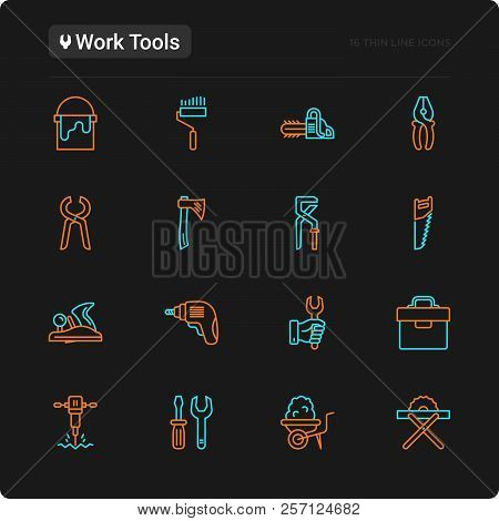 Work Tools Thin Line Icons Set: Puncher, Drill, Wrench, Plane, Toolbox, Wheelbarrow, Saw, Pliers, Sa