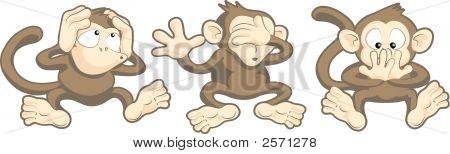 Hear No Evil, See No Evil, Speak No Evil Monkeys Illustration