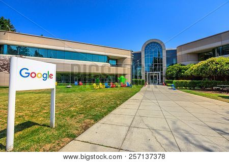 Mountain View, California, United States - August 13, 2018: Google Sign On 1625 Charleston Road At C