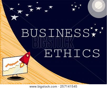 Text Sign Showing Business Ethics. Conceptual Photo Moral Principles That Guide The Way A Business B