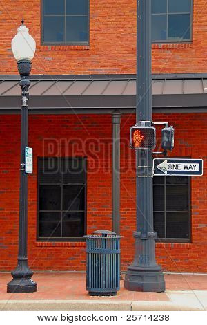 Historic Street Corner with One Way Sign and Do Not Walk Sign