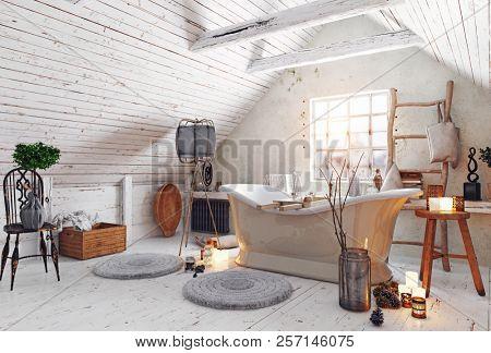 modern attic white bathroom interior. 3d rendering design concept