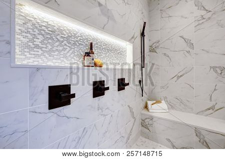 Master Modern Bathroom Interior In Luxury Home With White  Shower And Marble Tiles