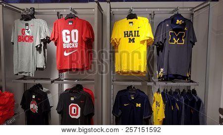 Ohio State University Buckeyes And University Of Michigan Wolverines Sports Apparel Merchandise Shir