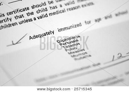Child's Immunization Record for School Admittance
