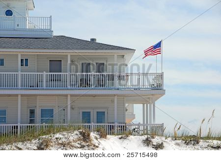 Elegant Beachfront Home with Flag Waving