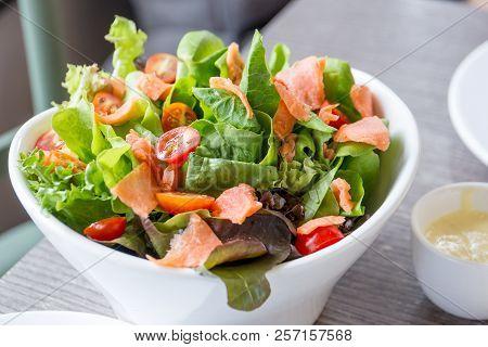 Smoked Salmon Salad In Dash Close Up.