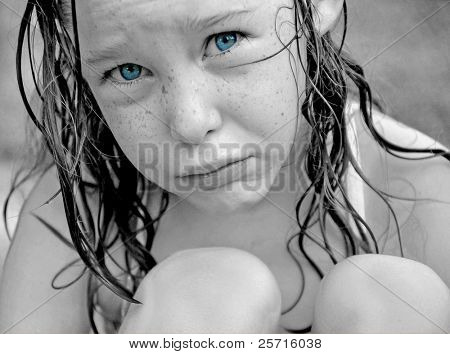 Freckle Faced Blue Eyed Girl with Pouty Face
