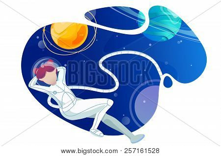 Woman Astronaut Relaxes In Space. Concept Flight Of Fantasy Surreal Univers With Young Girl Explorer