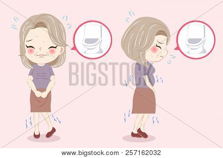Woman With Menopause And Frequent Urine Problem On The Pink Background