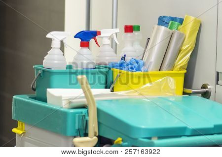 Commercial Professional Cleaning Kit On Cart. Cleaning And Washing Tools. Equipment  Of Cleaning Ser