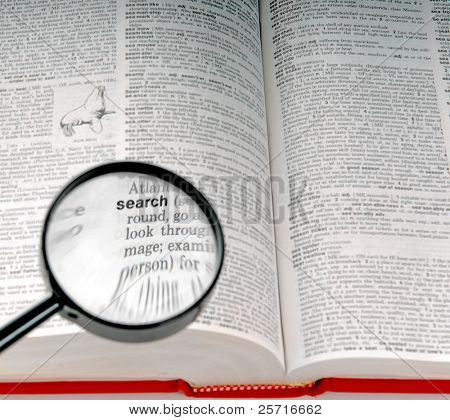 The word SEARCH in the dictionary under magnifying glass