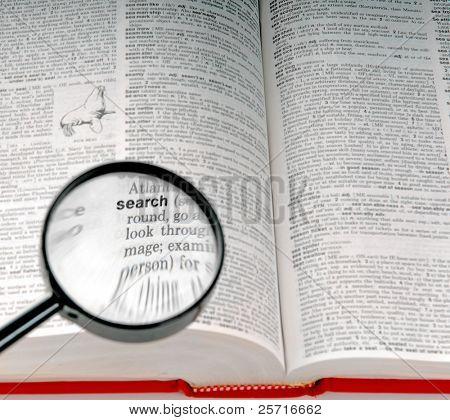 die Wortsuche in das Wörterbuch unter dem Vergrößerungsglas