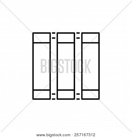 Vector Illustration Of Vertical Window Blind. Line Icon Of Japanese Panel Shade & Jalousie. Front Vi